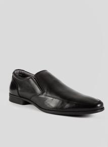 Sole Comfort Black Leather Slim Line Slip-on Shoes