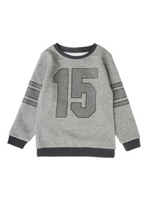 Boys Grey Raised Print Sweatshirt (3-12 years)