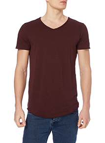 Dark Red Raw Edge Scoop Tee