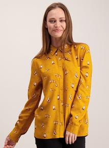 Mustard Fox Print Shirt