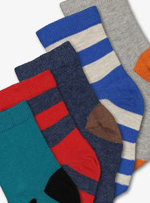 Multicoloured Animal Sock Set 5 Pack (Infant 3-6.5 Adult)