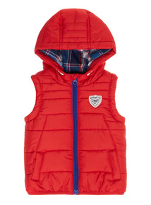 Red Hooded Gilet (0-24 months)
