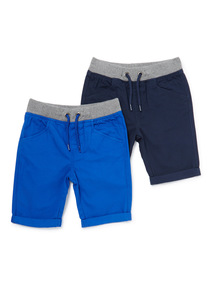 2 Pack Blue and Navy Rib Waist Twill Shorts (9 months-6 years)