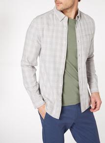 Grey Long Sleeve Check Shirt