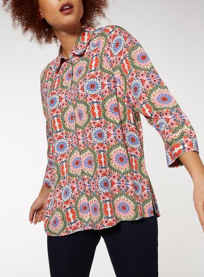 Floral Print Oversized Shirt