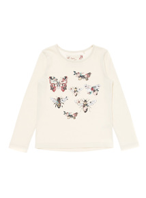Beige Butterfly And Bee Top (3-12 years)