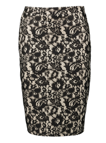Black Floral Lace Overlay Skirt