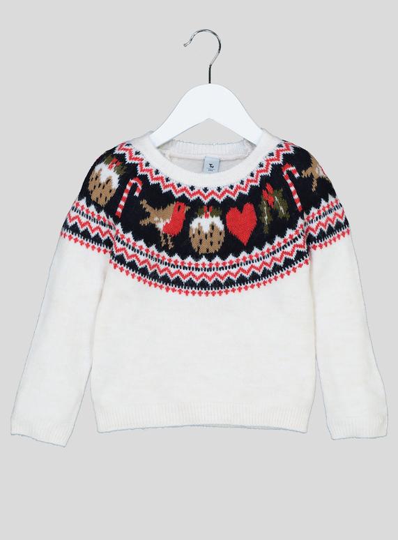 eae1b9ec9a9 Kids Cream Christmas Robin Fairisle Mini Me Jumper