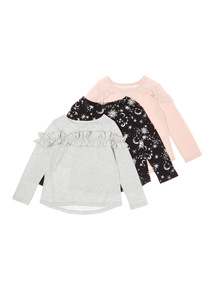 3 Pack Multicoloured Frill Mystical Tops (3-14 years)