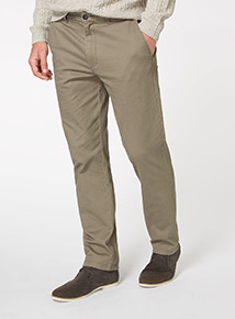 Taupe Straight Chino Trousers