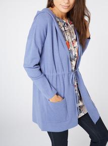 Blue Hooded Coatigan