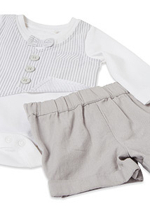 Grey Body Waistcoat and Shorts Set (0-12 months)