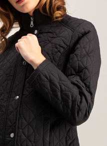 Black Padded Zip Through Coat