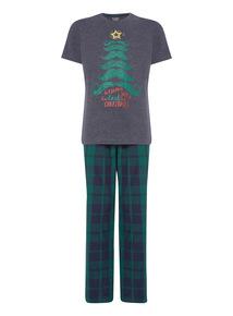 Blue Christmas Tee and Check Trouser Pyjama Set