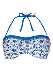Tile Print Bandeau Bikini Top