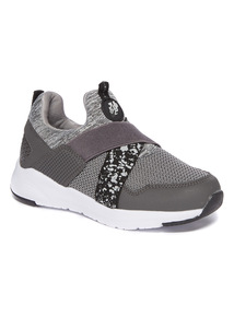 Grey Elasticated Strap High Cut Slip-On Trainers
