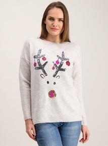 Christmas Light Grey Sequin Rudolph Jumper
