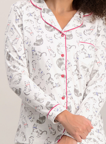 Cream Cat Print Traditional Pyjamas
