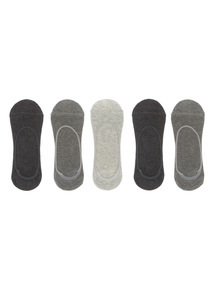 Grey Invisible Socks 5 Pack