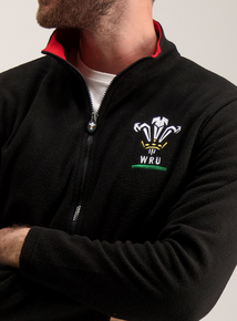 Wales Rugby Black Zip Up Fleece
