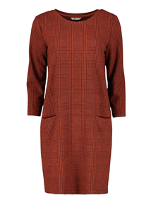 Burnt Orange Brushed Check Dress