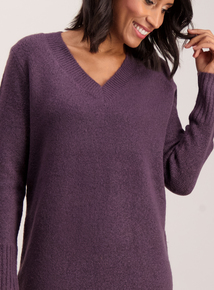 Purple V-Neck Longline Tunic