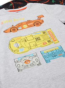 3 Pack Multicoloured Race Car Pyjamas (1.5-12 years)