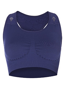 Navy Seamless Crop Top