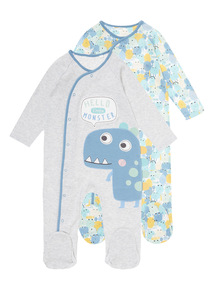 2 Pack Little Monster Sleepsuits (0-24 months)