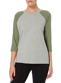 Multicoloured Colour Block Raglan Top