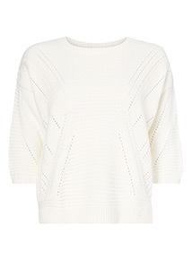Cream Pointelle Stitch T-Shirt