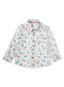 Boys White Robot Shirt (0 - 24 months)