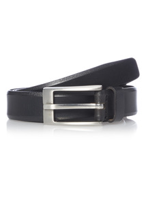 Black Chamfered Edge Formal Leather Belt