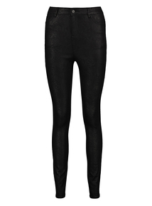 Black Snake Print Skinny Jeans