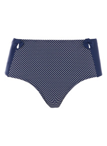 Navy Textured High Waisted Bikini Bottoms