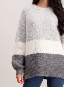 Grey Boucle Colour Block Jumper