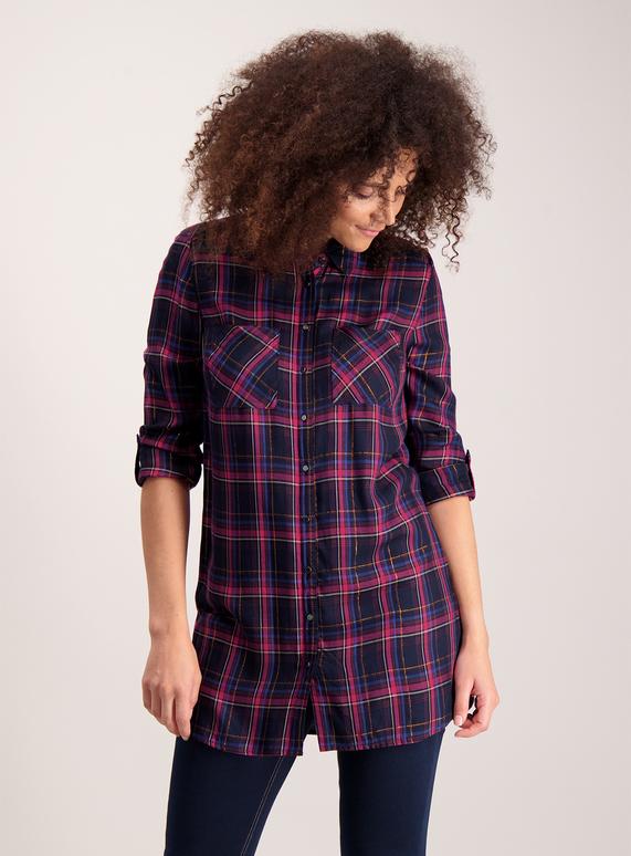9e7017099f772f Womens Mutlicoloured Longline Check Shirt   Tu clothing