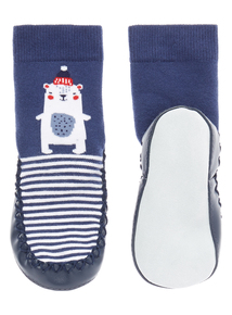 Boys Navy Moccasin Slipper Socks (0-24 months)