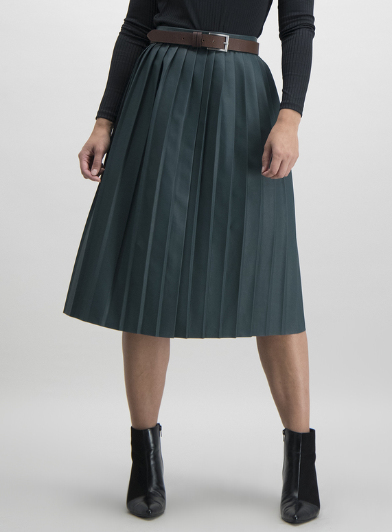 discount price lowest discount shades of Dark Green Pleated Faux Leather Midi Skirt