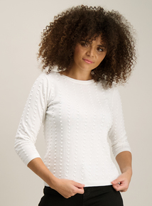 Cream Textured Dot Round Neck Jumper