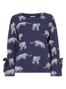 Blue Leopard Print Top
