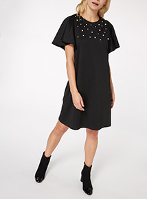 Fluted Sleeve Pearl Shift Dress