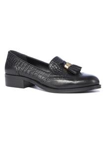 Premium Black Leather Tassel Loafers