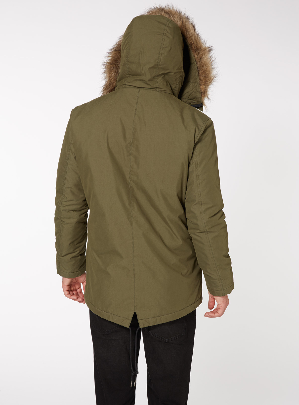 Mens Khaki Faux Fur Trim Hooded Parka Coat | Tu clothing