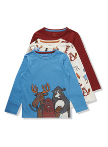 3 Pack Multicoloured Animal Print Long Sleeve T-Shirt (9 months - 6 years)