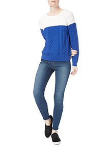 Blue Colourblock Cable Jumper