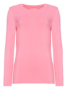 Pink Long-Sleeved Plain Top