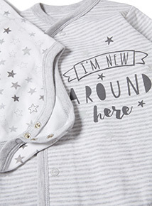 2 Pack White and Grey (0-12 months)