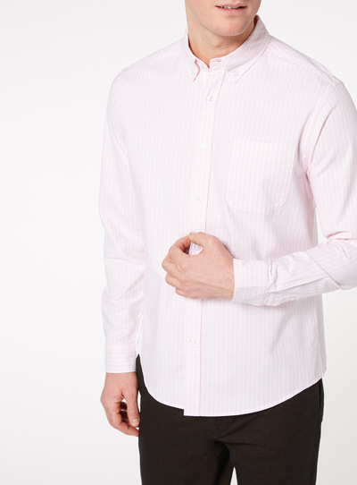 Pink Stripe Stretch Oxford Shirt