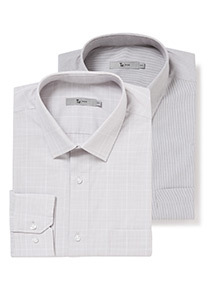 2 Pack Grey Check and Stripe Tailored Fit Shirts